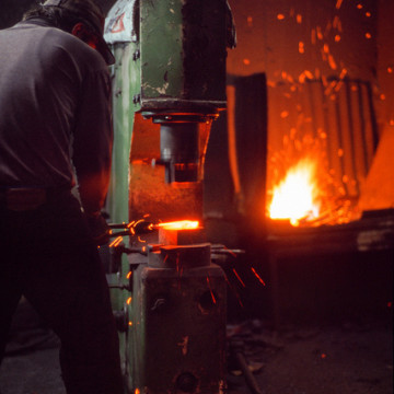 A forging hammer at work.